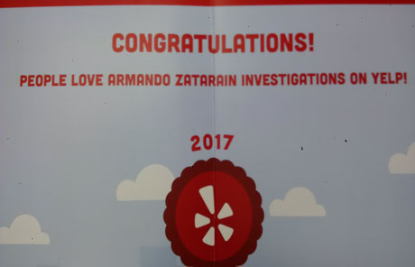 Armando Zatarain Investigations on Yelp